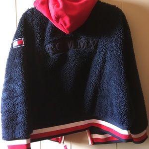 Tommy Hilfiger fleece navy hood zip up hoodie